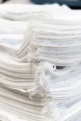 Stacked of new plastic sacks