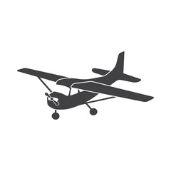 Small aircraft with propeller vector drawing