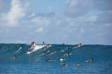 Large group of surfers riding wave, Tahiti, South Pacific
