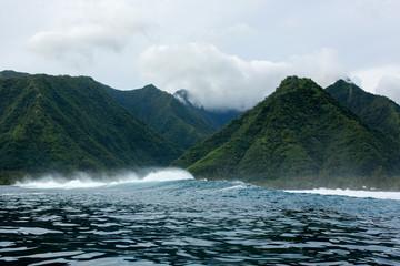 Sea and green mountains, Tahiti, South Pacific