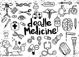 Health care and medicine doodle background. Vector illustration
