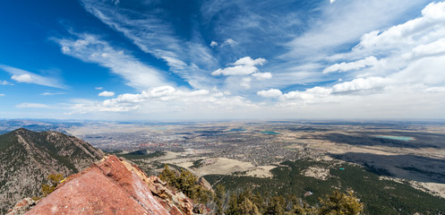 Boulder Colorado overhead view of downtown city landscape