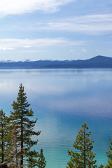 Mountain landscape of Lake Tahoe in California
