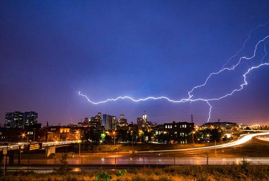 Lightning Strike Above The Denver Colorado Skyline