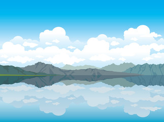 Nature vector - mountains and lake.