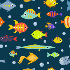 Cute fish vector illustration seamless pattern background