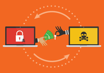Businessman hand holding money banknote for paying the key from hacker for unlock computer folder got ransomware malware virus computer PC. Vector illustration cybercrime concept.