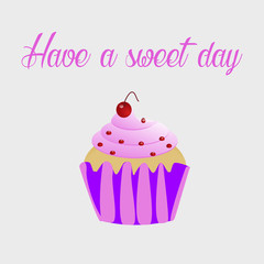 Cupcake with frosting and sprinkles and text Have a sweet day