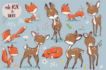 set with cute fox and deer
