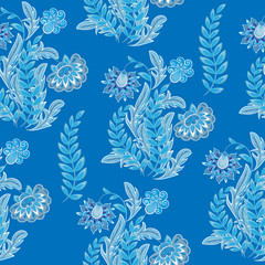 Blue floral seamless ornament. Fantasy flowers pattern. Vector