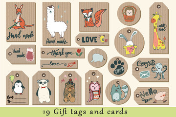Gift tags, cards, labels and stickers with cute cartoon animals on craft paper.