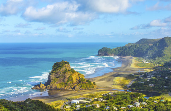 Look Out to Lion Rock Piha Beach Auckland New Zealand