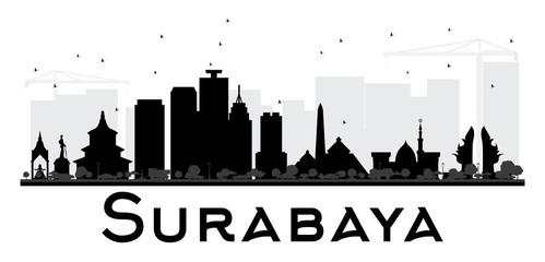 Surabaya City skyline black and white silhouette.