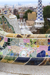 Gaudi multicolored mosaic bench  in Park Guell; Barcelona; Spain