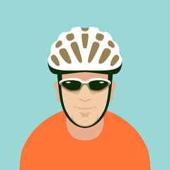 man bike helmet vector illustration style Flat