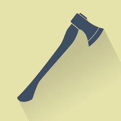 Silhouette of Silhouette of Axe. Flat design vector illustration