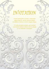 Invitation card, wedding card with ornamental
