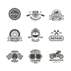 Race, motorcycle, motorbike repair vector retro labels, logo, badges and emblems