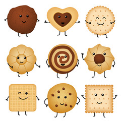 Cute cartoon funny cookies, bakery characters vector collection