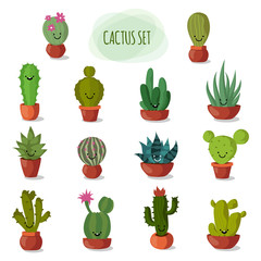 Funny and cute cartoon desert cactus in pots vector set