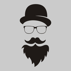 retro. The man's silhouette with mustache and a beard, in a hat and eye-glasses