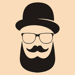 Fashion silhouette hipster style. Hat, glasses, mustache, beard. Vector illustration