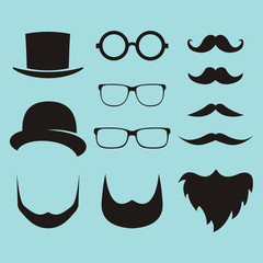 Vector set of dress up constructor with different men glasses, beard, mustache, wear in trendy flat style.