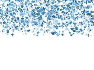 Blue stars falling from the sky on white background. Abstract Background. Glitter pattern for banner. Vector illustration.
