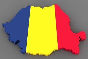 Country shape of Romania - 3D render of country borders filled with colors of Romania flag isolated on grey background