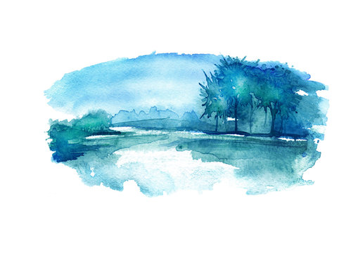 Watercolor night landscape, nature, forest on the river bank, lakes. In the picture, water, sky, trees, reflection in the river. Beautiful vintage postcard, poster, image. Summer, spring landscape