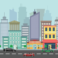 The landscape of the modern city with cars.