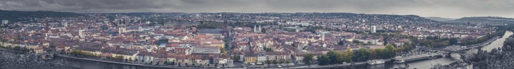Foto op Canvas Big panorama city view of Würzburg with dramatic sky, Frankonia, Bavaria Germany