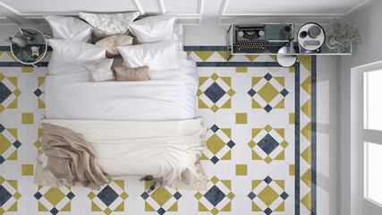 Classic bedroom, top view, with marble old vintage blue and yellow tiles