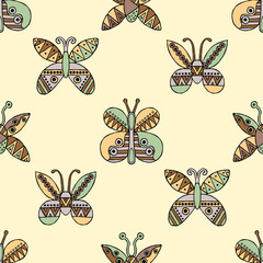 Vector hand drawn seamless pattern, decorative stylized childish butterflies. Doodle style, tribal graphic illustration Cute hand drawing in vintage colors. Series of doodle, cartoon, illustrations