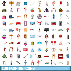 100 fashion icons set, cartoon style