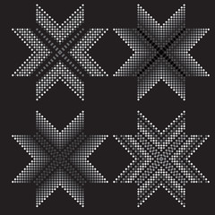 Vector circular geometric pattern. Small black and white squares.