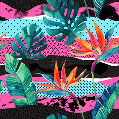 Wall Murals Graphic Prints Abstract tropical summer design seamless pattern.