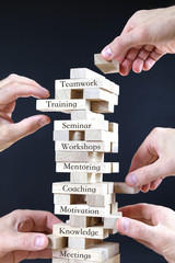 business concept for teamwork with wooden blocks