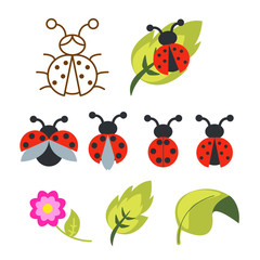 Ladybug clipart set with green leaves and outline bug with wings.