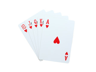 Poker hearts of 10 J Q K A playing cards isolated on white background