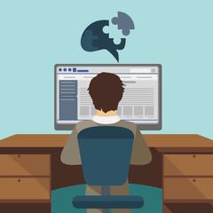 Software design on blue background, vector illustration.
