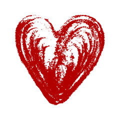 Isolated red hand drawn heart on white background.