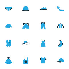 Clothes Colorful Icons Set. Collection Of Trousers, T-Shirt, Skirt And Other Elements. Also Includes Symbols Such As Outfit, Hat, Underpants.