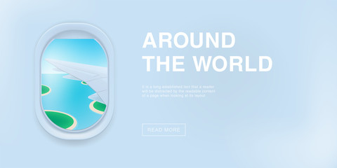 Banner with airplane window. cartoon flat illustration with place for text. Porthole, view on the plane wing.