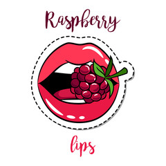 Fashion patch element lips with raspberry