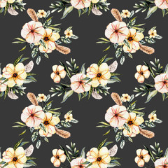 Seamless floral pattern with watercolor pink flowers bouquets with feathers, hand drawn on a dark background