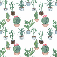 Seamless  watercolor  Floral pattern .Cacti in pots on beige background.
