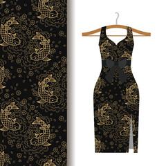 Dress fabric pattern with koi fish
