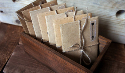 Vintage style Old Wood Mailbox on Weathered Wood