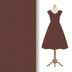 Dress fabric with abstract brown pattern